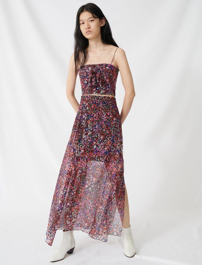 Falda floral de seda - Faldas y shorts - MAJE