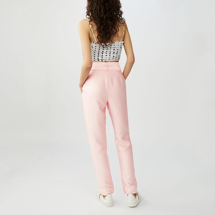 Pantalón de pinzas con cinturón : Pantalones color Rosa