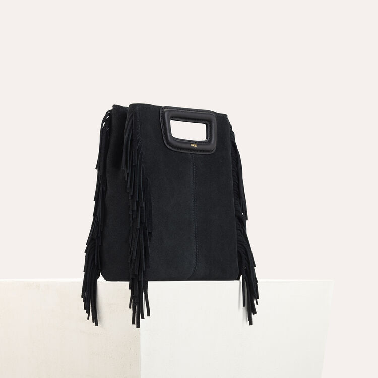 Bolso M de cuero de gamuza : Piel color Negro