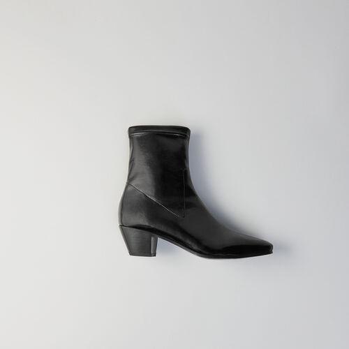 Botines de tacon en vinilo stretch : Botas y Botines color Negro