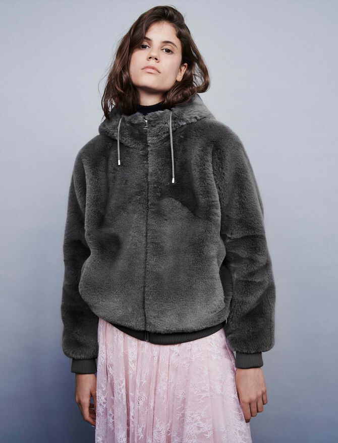Cazadora en piel falsa con capucha - Abrigos y Cazadoras - MAJE
