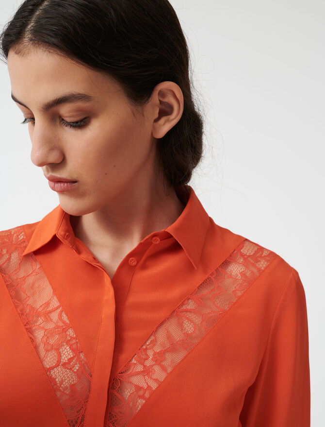 Camisa con detalles de encaje - Tops y Camisas - MAJE