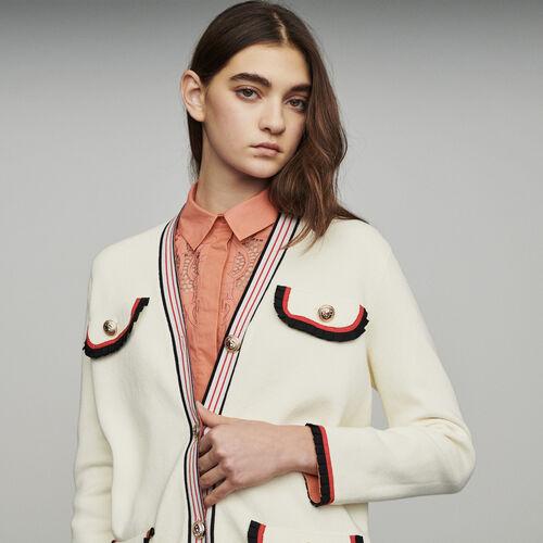 Chaqueta larga de punto cerrado : Jerseys y cárdigans color ECRU