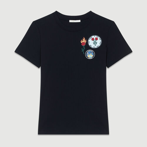 Camiseta de algodón con partches : T-Shirts color Negro