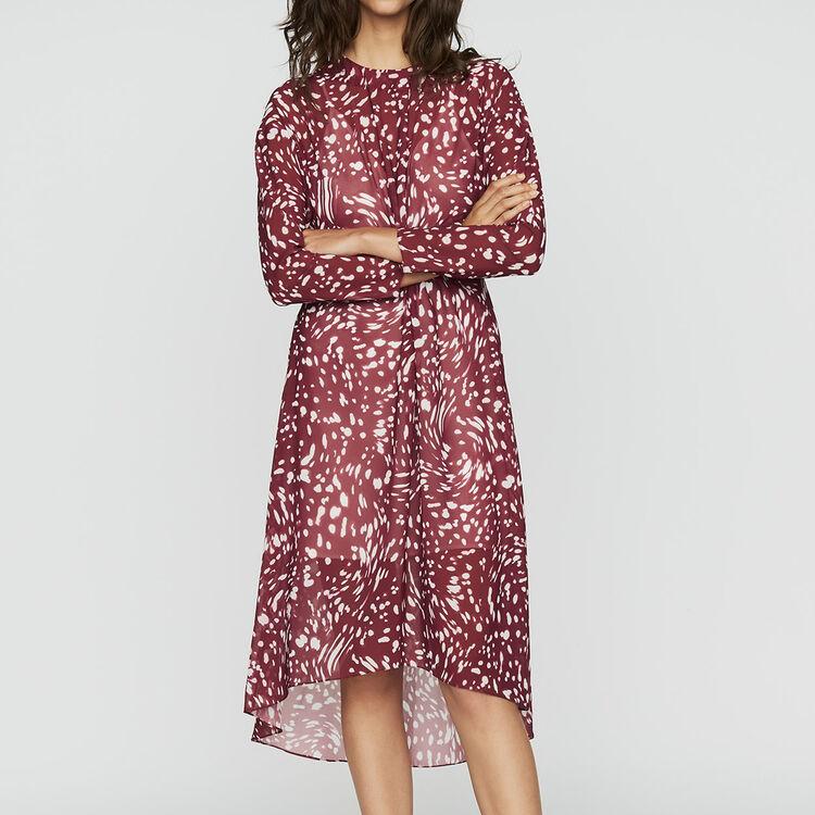 Vestido largo plisado con bordados : Vestidos color IMPRIME
