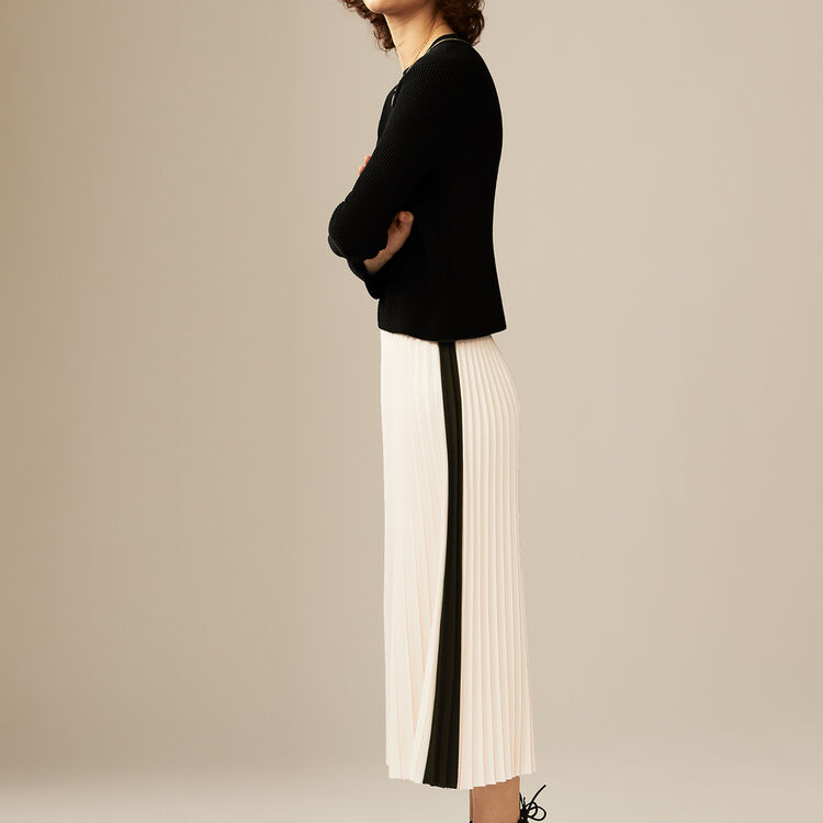 Falda larga plisada y bicolor : Faldas y shorts color ECRU