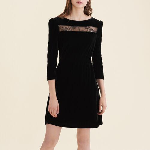 Vestido de terciopelo y encaje : Vestidos color Negro