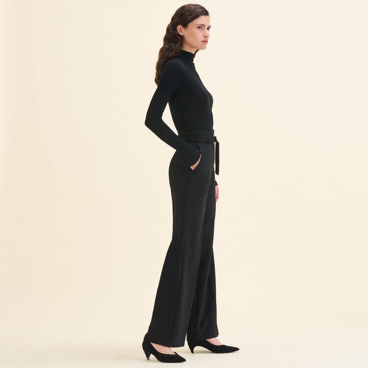 Pantalón ancho de talle alto : Pantalones color Negro