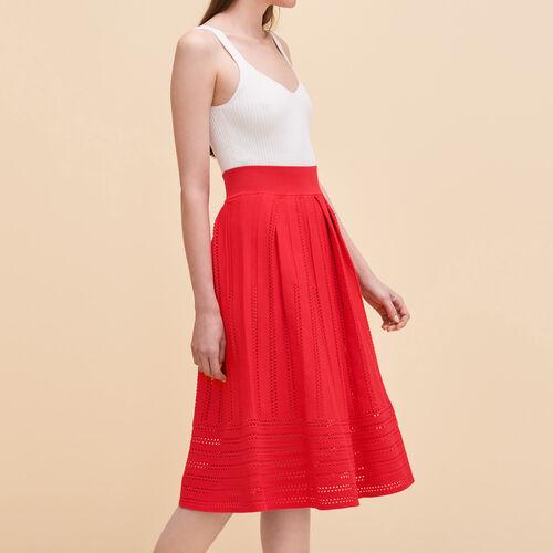 Falda de punto calado : Faldas y shorts color Frambuesa