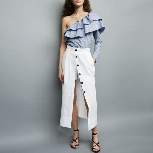Falda pantalón larga de algodón : Faldas y shorts color Blanco
