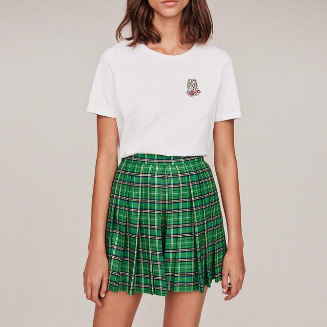 Camiseta algodón con bordados y strass -  - MAJE
