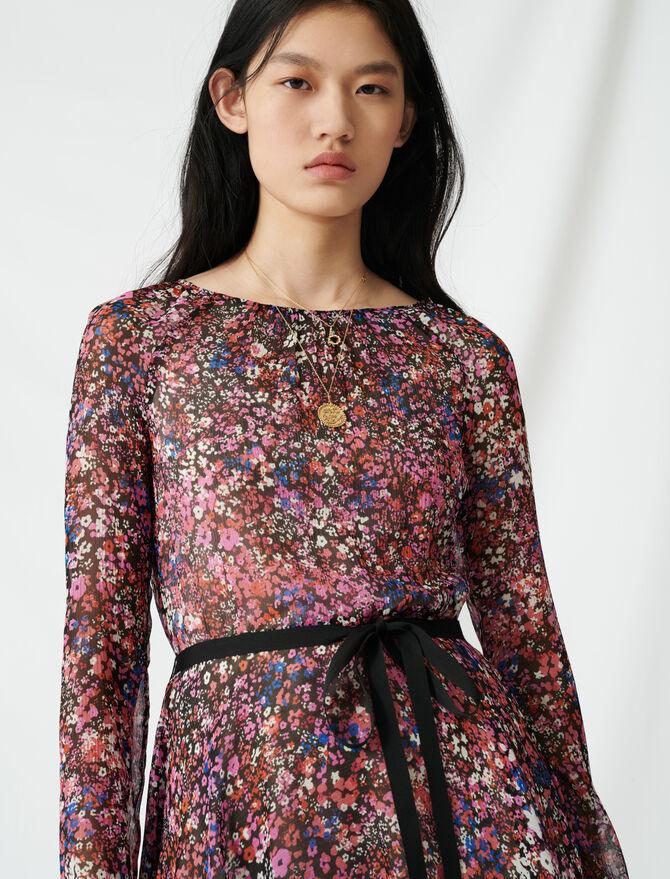 Vestido floral con cinturón - Vestidos - MAJE