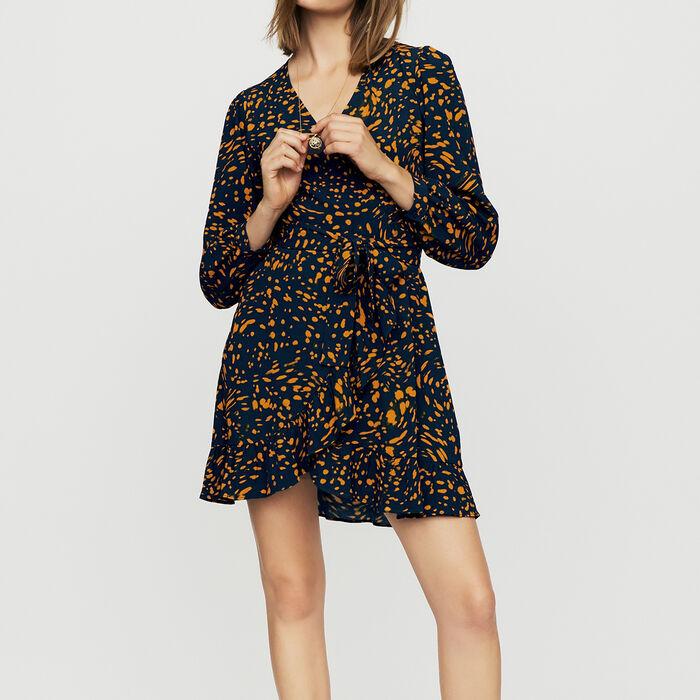 Vestido cruzado estampado leopardo : Vestidos color IMPRIME