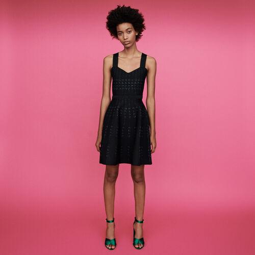 Vestido en punto y Lurex : Vestidos color Negro