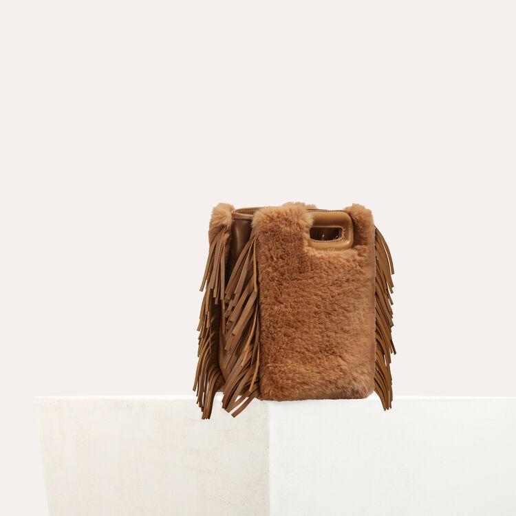 Mini-bolso M en cuero y piel fantasía : Piel color Beige