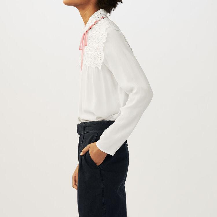 Blusa de crepé y encaje : Camisas color Crudo