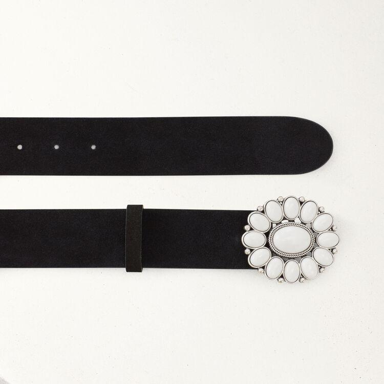 Cinturón pantalón con hebilla flor : Cinturones color Negro