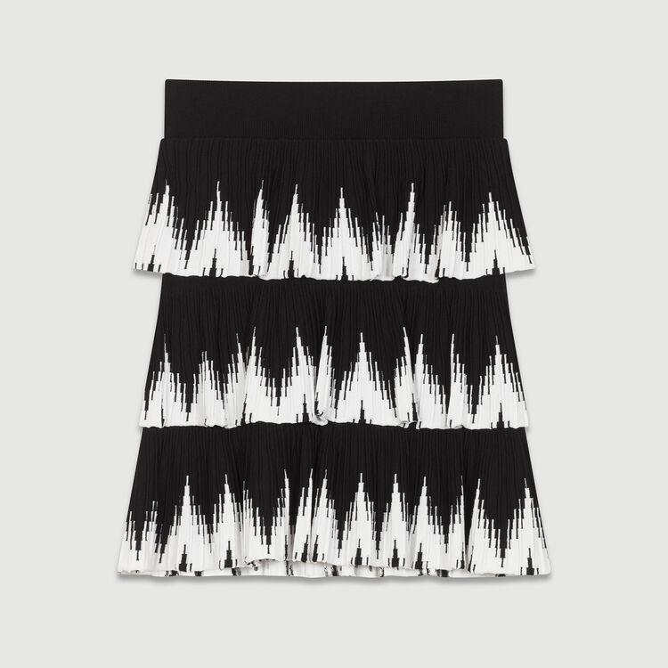 Falda de punto con volantes : Faldas y shorts color Negro