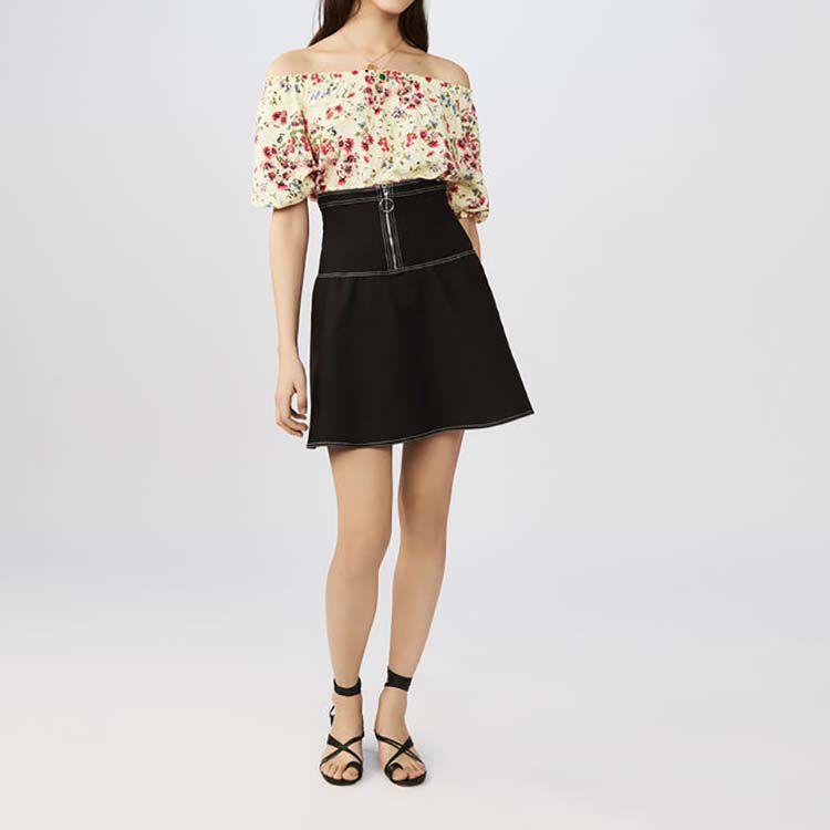 Falda corta fruncida de algodón Stretch : Faldas y shorts color Negro