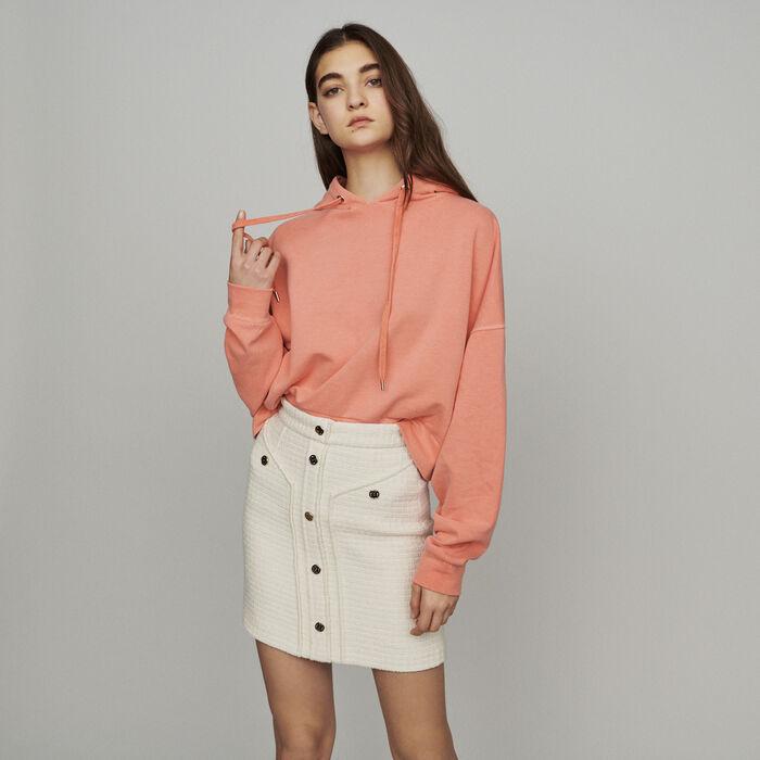Falda corta tipo tweed : Faldas y shorts color Crudo