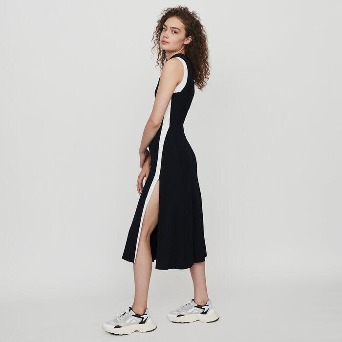Vestido ribeteado abierto y a contraste : Vestidos color Negro