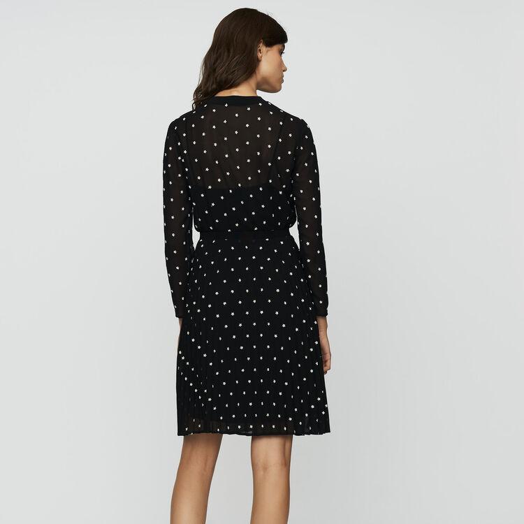 Vestido plisado con bordados : Prêt-à-porter color NEGRO