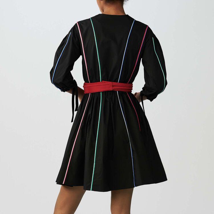 Vestido de lona de algodón con ribete : Vestidos color Negro