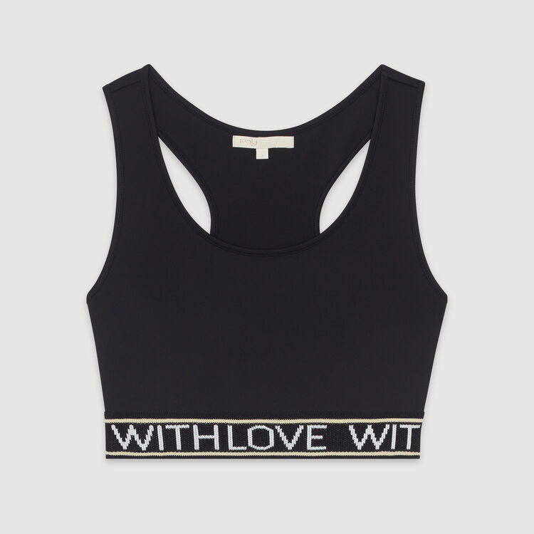 Sujetador-top con bandas de mensaje : T-Shirts color Negro