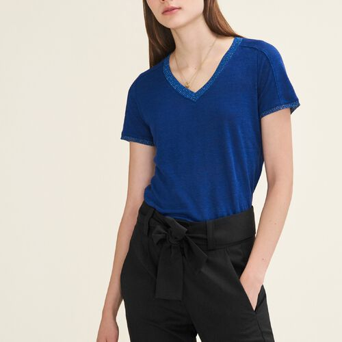 T-Shirt mit Lurexdetails : T-shirts color Azul