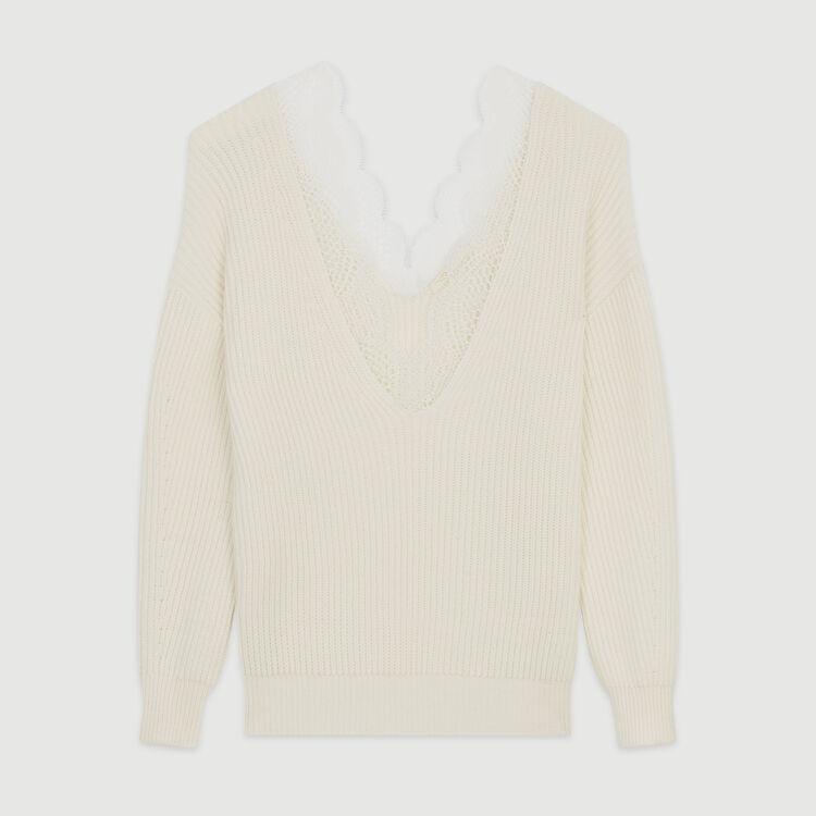 Jersey loose con encaje : Jerseys y cárdigans color ECRU