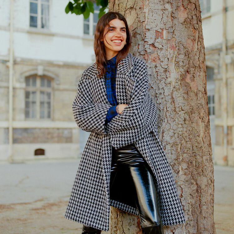 Abrigo oversize con doble botonadura : Abrigos color Jacquard