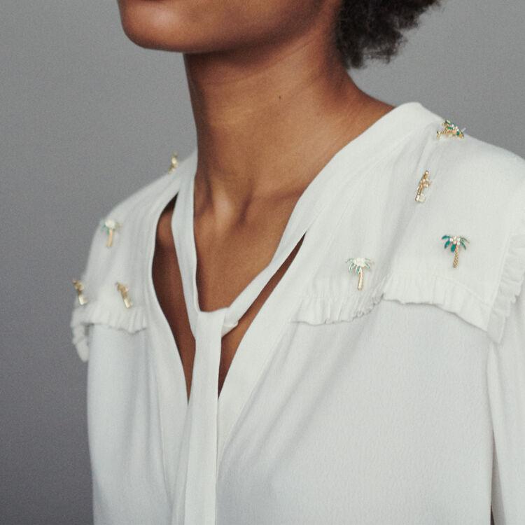 Cazadora de crepé con joya palmeras : Camisas color ECRU