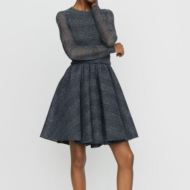 Vestido patinadora de tejido malla cesto : Vestidos color Gris