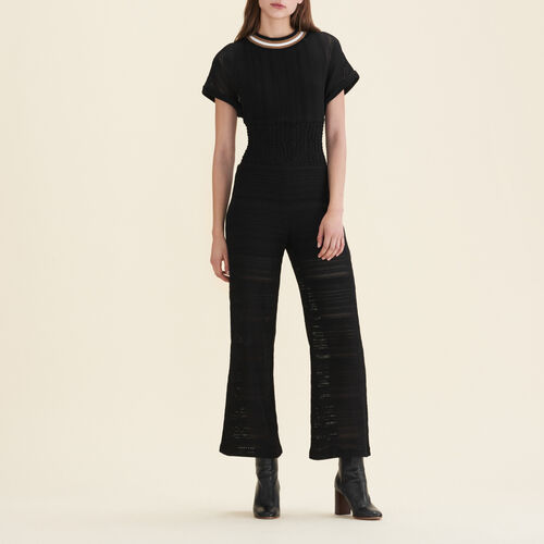 Mono con pantalón de punto fino : Pantalones y vaqueros color Negro