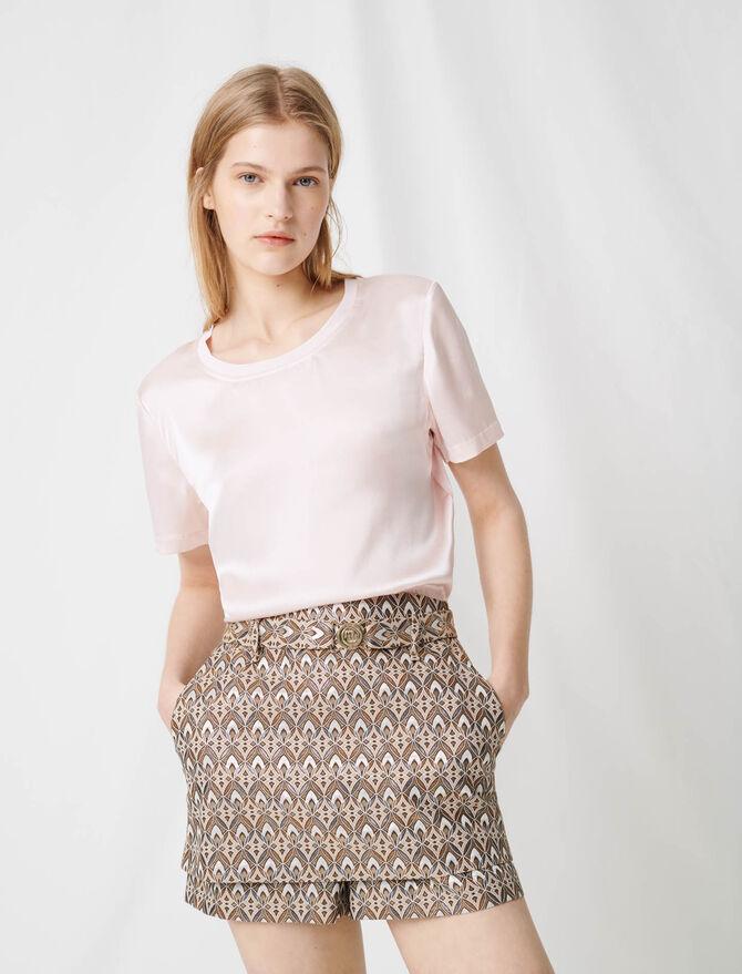 Camiseta combinada de algodón y seda -  - MAJE