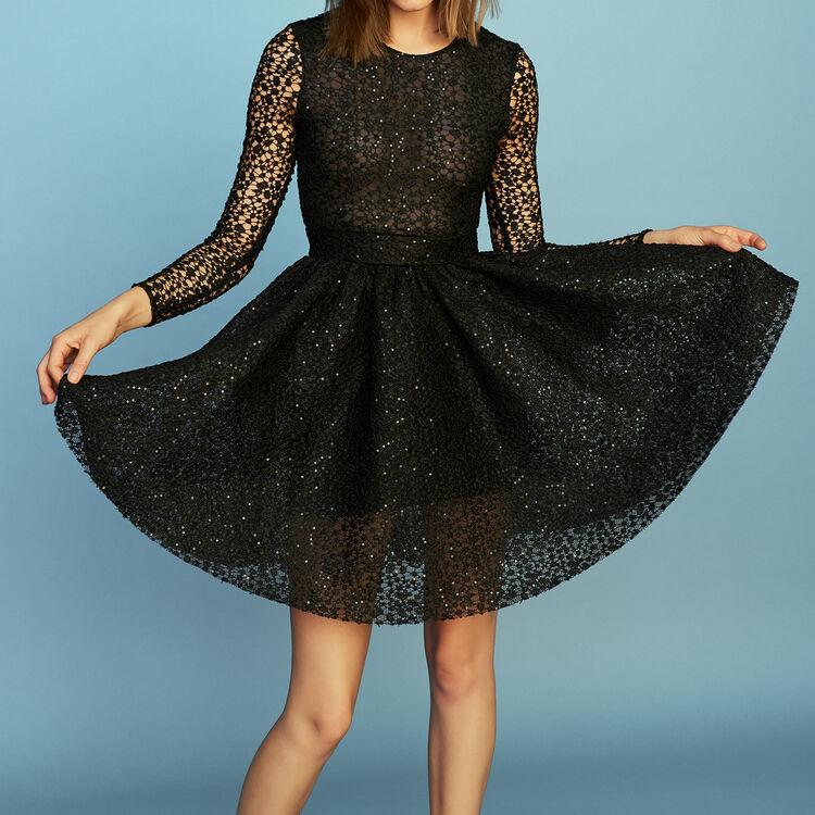 Vestido patinadora mangas largas : Vestidos color Negro