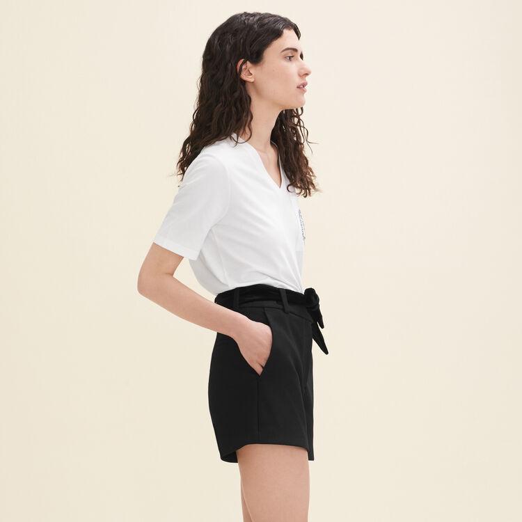 Short de crepé de talle alto : Faldas y shorts color Negro