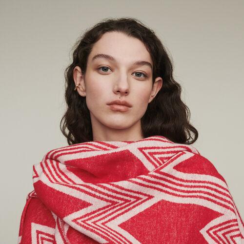 Poncho con motivo M art deco : Pañuelos & Ponchos color Rojo