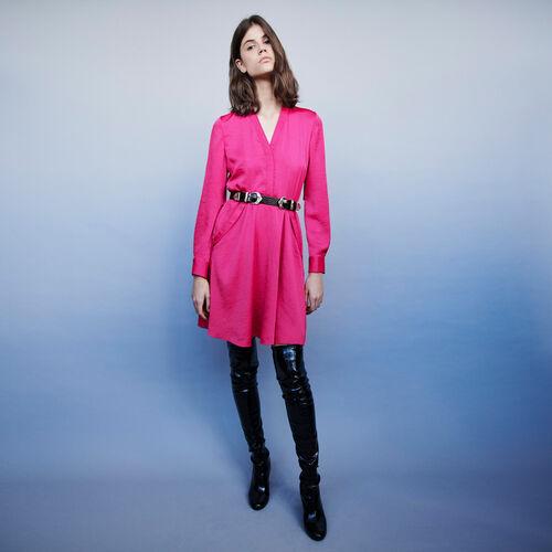 Vestido de raso ceñido en la cintura : Vestidos color Fucsia