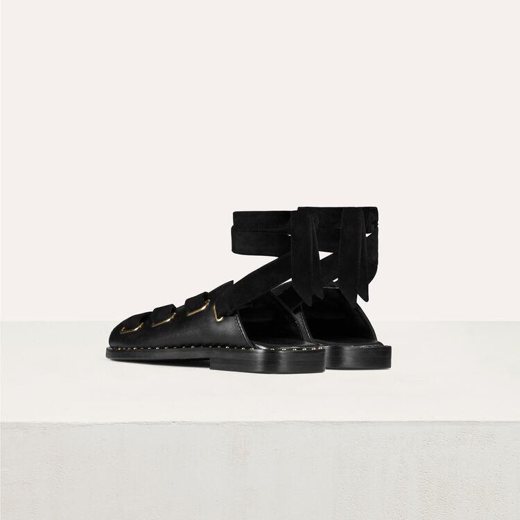 Sandalias planas de cuero : Zapatos color Negro
