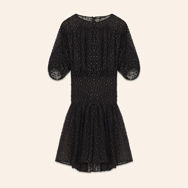 Vestido de seda con flocado : Vestidos color Negro