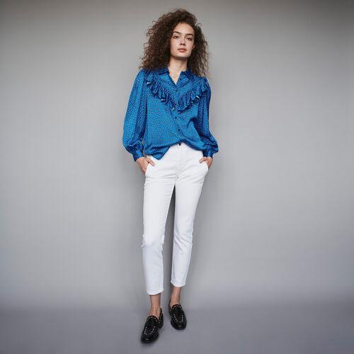 Blusa de raso estampada con volantes : Colección invierno color Azul
