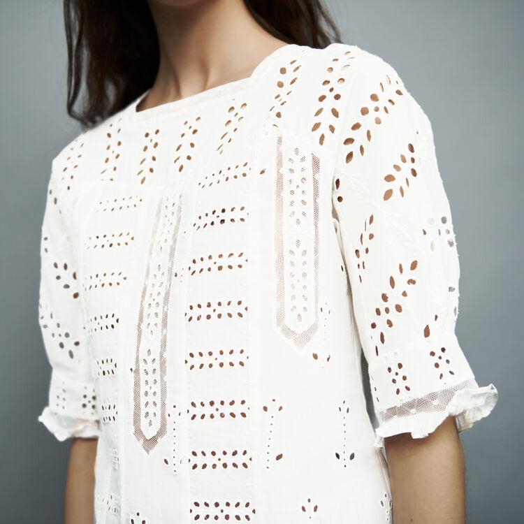 Top de algodón bordado : Tops color Blanco