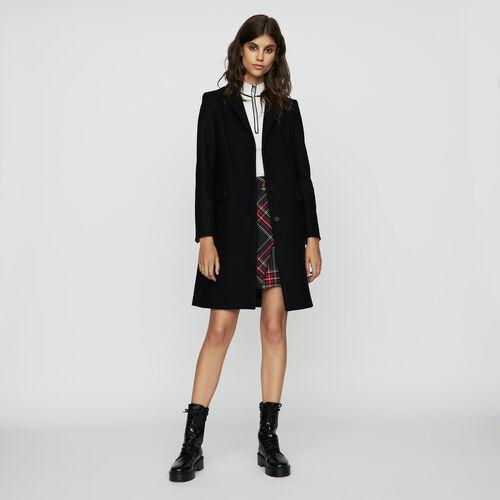 Abrigo recto de lana virgen : Prêt-à-porter color Negro