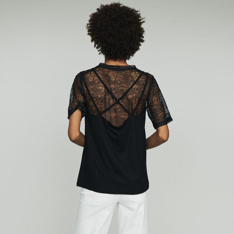 """Top """"trompe l'œil"""" con encaje : Toda la colección color Negro"""
