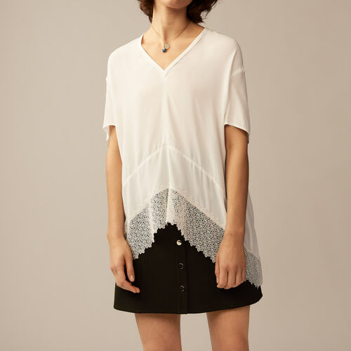 Top oversize con guipur : Tops color Crudo