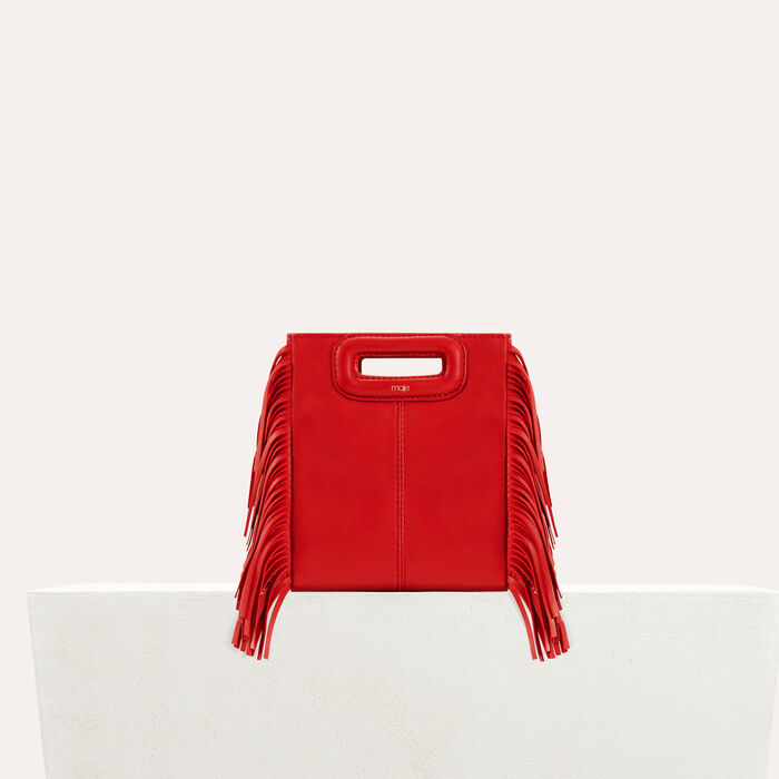 Mini bolso M de cuero con flecos : Special occasion color RED