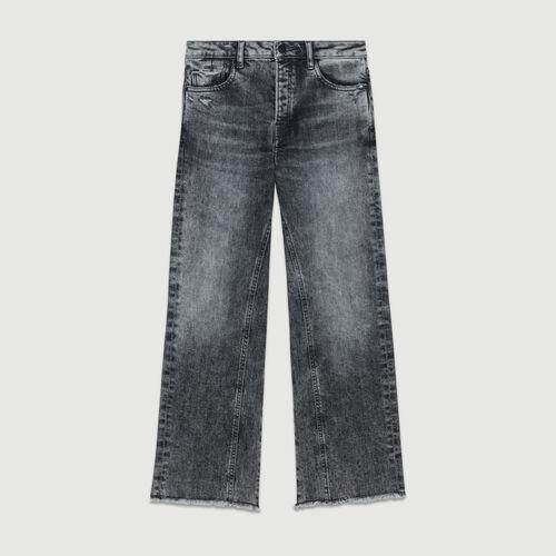 Jean ancho con detalles usados : Jeans color Gris