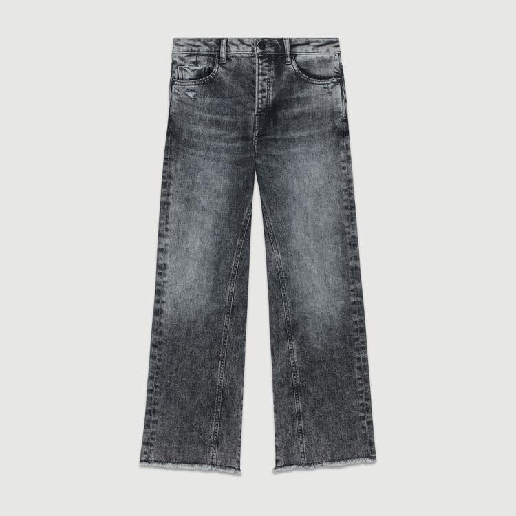 Jean ancho con detalles usados : Le denim color Gris