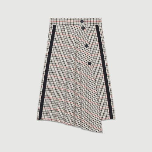 Falda larga asimétrica de cuadros : Faldas y shorts color CARREAUX